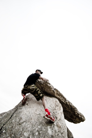 Man in mountain,Bouldering.