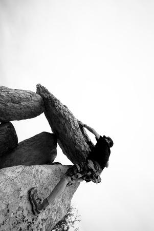 bouldering: Man in mountain,Bouldering.