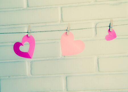 recollections: hearts with clothespin in vintage colors
