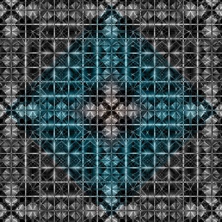 Pattern silver, blue and black
