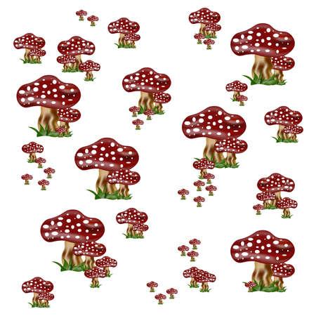 Red and white mushrooms Stock Photo