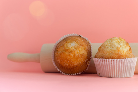 Muffins. Homemade pastries, sweet cupcakes for breakfast Banco de Imagens
