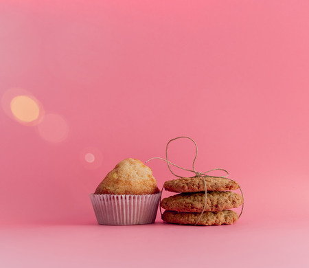 Muffins and cookies . Homemade pastries for breakfast Banco de Imagens