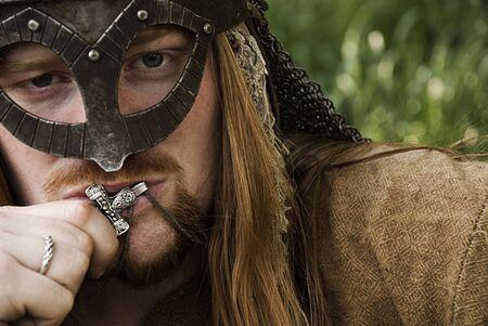 armor cross faith helmet history living male reconstructor red scandinavia silver viking warrior