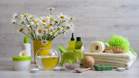 Spa composition with daisy flowers: cosmetic and bath products, accessories for massage and peeling on light background. Wellness concept, front view, copy space