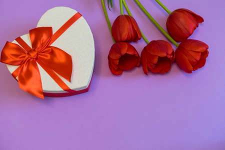 Red tulips and gift box in heart shape with red bow on bright violet background. Beautiful spring floral layout. Greeting card for Valentines, womens or mothers day. Flat lay, top view, copy space
