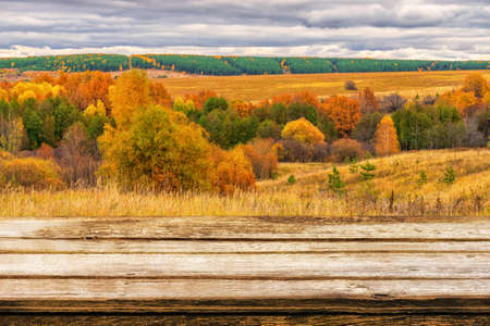Empty wooden table with blurred picturesque autumn landscape of panoramic view from hill to lowland with field and grove in cloudy day. Mock up for display or montage products.