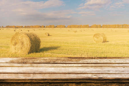 Empty wooden table with autumn landscape of beveled field and straw bales. Can be used for display or montage products