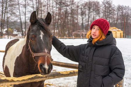 Teen redhead girl patting horse at ranch in snowy day. Winter weekend at farm, trip to countryside. Healthy lifestyle, active leisure, authentic moments.