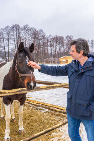 Handsome middle-aged man patting horse at ranch in snowy day. Winter weekend at farm, trip to countryside. Healthy lifestyle, active leisure, authentic moments. Фото со стока