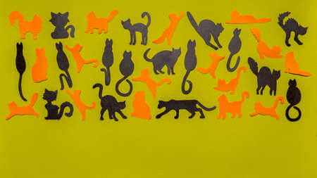 Happy World Cat Day. Black and orange funny cat silhouettes on light green background. Festive layout or mock up for feline holiday or pet health concept. Flat lay, top view, copy space.