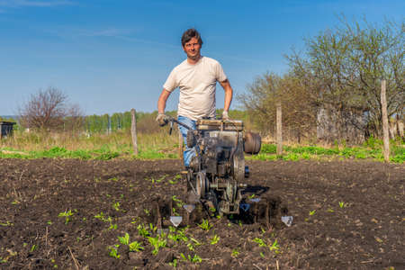 Man in wellingtons with cultivator ploughing ground in sunny day. Farmer plowing kitchen-garden in suburb. Land cultivation, soil tillage. Spring work in garden. Gardening concept. Фото со стока