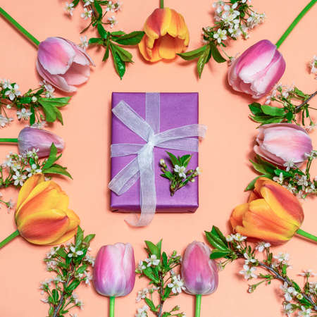 Round frame made of colorful pink and orange tulips with cherry blossom twigs on peachy background and gift box wrapping in violet paper with white ribbon. Beautiful spring floral greeting card. Stock fotó