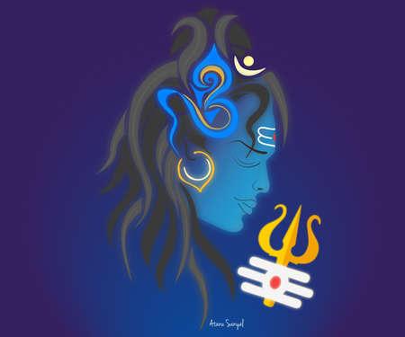 indian god mahadeb shiva in blue Stock Photo