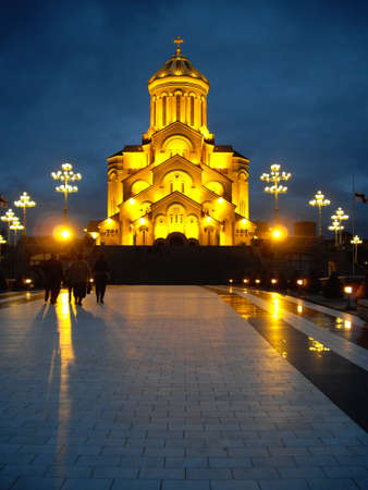 St. Trinity cathedral in Tbilisi, Georgia in the night Stock Photo