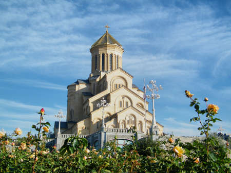 The biggest Orthodox cathedral church in Caucasus area - St. Trinity or Sameba Cathedral in Tbilisi, Republic of Georgia