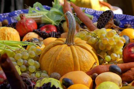 Close-up van de herfst groenten en fruit Stockfoto