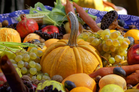 Closeup of autumn vegetables and fruits