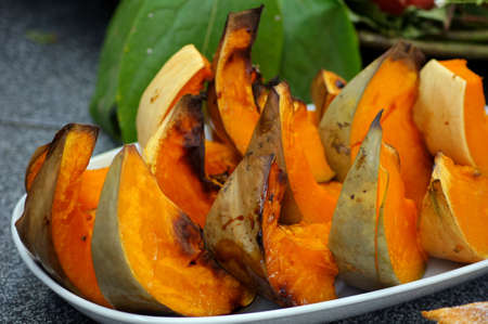 Fried pumpkin pieces - traditional georgian cuisine