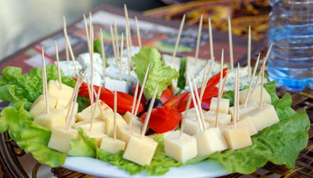 Different cheese sorts and vegetables on the plate      photo