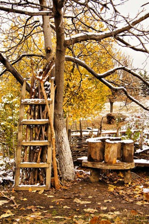 Autumn time and the first snow in rural place