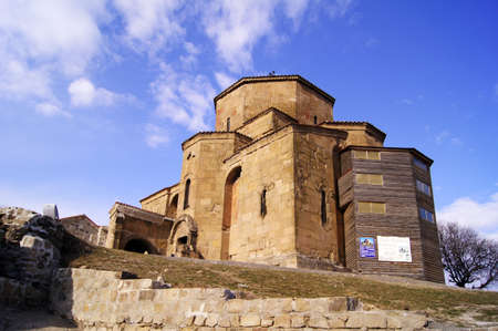 Exterior of ruins of Jvari, which is a Georgian Orthodox monastery of the 6th century near Mtskheta (World Heritage site) - the most famous symbol of georgiam christianity