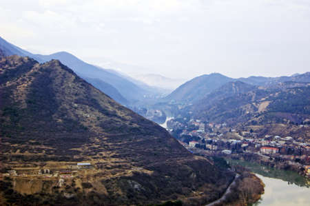 View to ancient city of Mtskheta from the Caucasus mountains