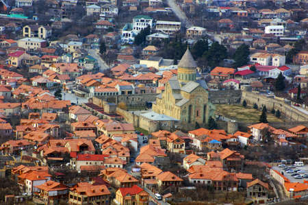 View to ancient city of Mtskheta from the Caucasus mountains          Editorial