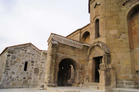 Exterior of ruins of Jvari, which is a Georgian Orthodox monastery of the 6th century near Mtskheta (World Heritage site) - the most famous symbol of georgiam christianity  photo