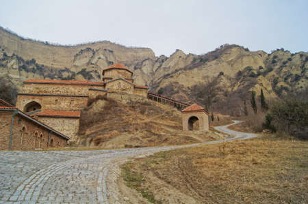 Exterior of ancient mountain monastery in Georgia - Shiogvime. It was found by one of the 12 assirian monk - Shio, who came to Georgia in 6 century AD
