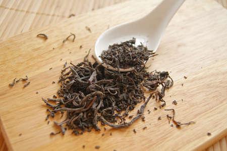 Closeup of set of China tea on bamboo mat