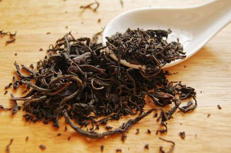 Closeup of set of China tea on bamboo mat                      photo