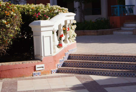 Arabic architecture: ceramic tiled stairs with bougainvillea