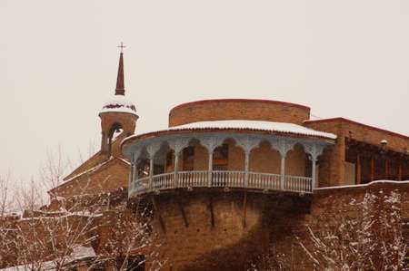 Winter view to covered with snow Tbilisi Old town in misty day Editorial
