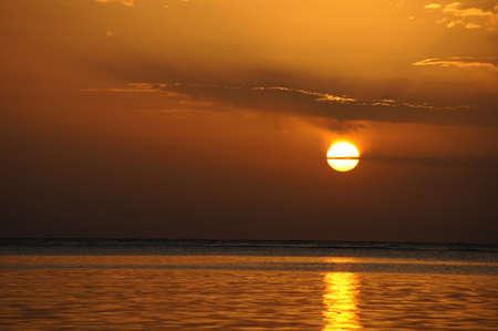 Sunrise over the Red sea egyptian coast photo