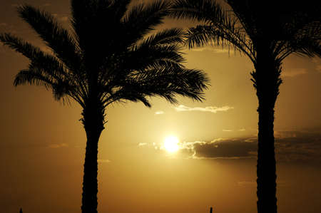 Sunrise over the Red sea egyptian coast Stock Photo