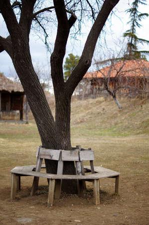openair: garden bench in Tbilisi Open-air ethnographic museum Stock Photo