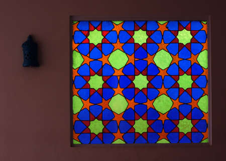 celling: Mosaic stauned glass in arabian style in old building in Egypt