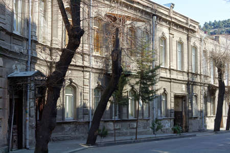 rehabilitated people: Art-Nouveau facade in narrow streets in Tbilisi Old town, Republic of Georgia