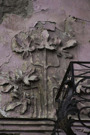 rehabilitated people: Art-Nouveau facade decoration in forged iron in Tbilisi Old town