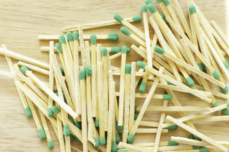 vestas: matches on the wooden desk background Stock Photo