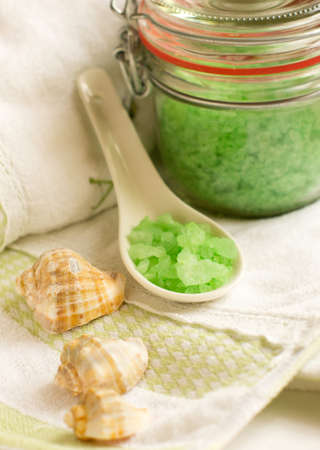 bath accessories: sea salt and towels photo