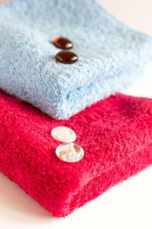 bath accessories: sea salt and towels photo