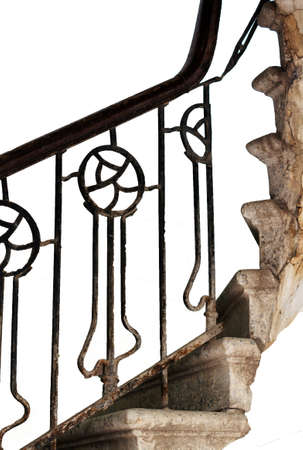 Old staircase detail on the isolated background Stock Photo - 18253474
