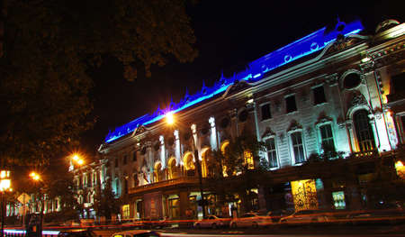 rustaveli: RUSTAVELI AVENUE, TBILISI, GEORGIA - NOVEMBER 03: Tbilisi main street -  Rustaveli avenue in the night, Rustaveli theatre on November 03, 2012 in Tbilisi, Georgia.