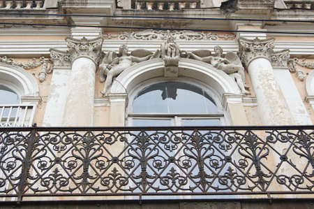 Art-Nouveau facade decoration in forged iron in Tbilisi Old town