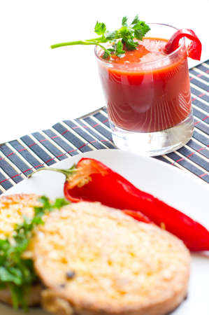 peper: Healthy breakfasr: fresh red peper, toasts and tomato juice Stock Photo