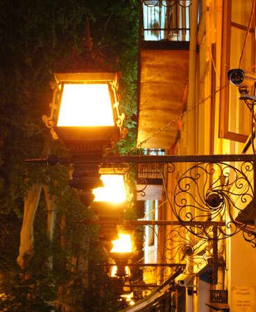 rustaveli: Rustaveli avenue in the night, main street of Tbilisi