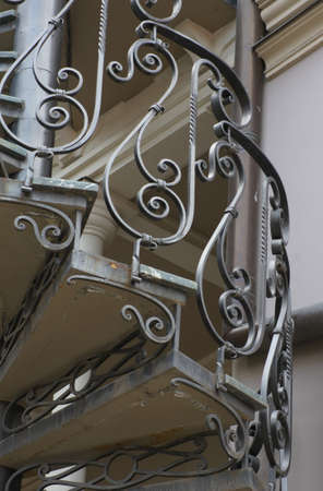 moresque: Elements of iron spriral staircase in Old Tbilisi, Georgia Stock Photo