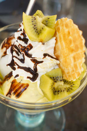 French waffle with ice cream and jam Stock Photo